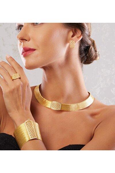 Prenses Toka Altın Kaplama Gümüş Trabzon Hasırı Set