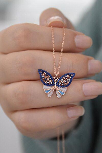 925 Ayar Lacivert Taşlı Gümüş Kelebek Kolye
