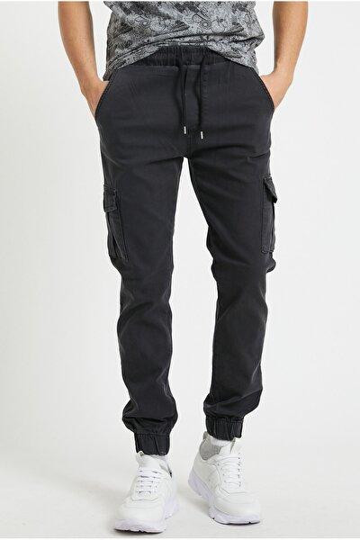 Erkek Füme Renk Jogger Paçası Beli Lastikli Pantolon