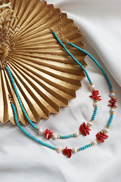 Altın Kaplama Kırmızı Mercan Çubuk Inci Kolye