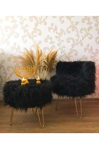 Peluş Puf Berjer & Yuvarlak Peluş Puf 2'li Set Siyah Takım
