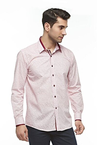 Uzun Kollu Geometrik Desenli Erkek Gömlek Kırmızı-bej