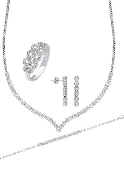 Su Yolu Gümüş Kolye Küpe Bileklik Yüzük Set Ef95
