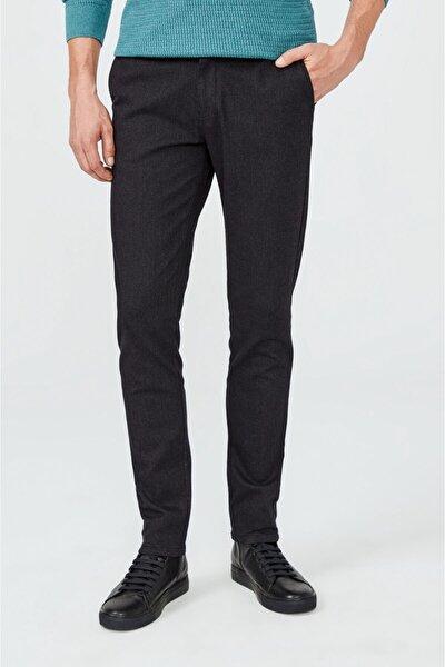 Erkek Siyah Yandan Cepli Armürlü Slim Fit Pantolon A02y3041
