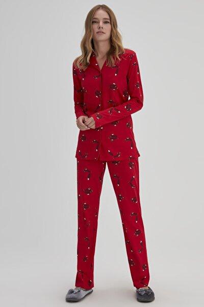 Kırmızı Kadın Modal Gömlek Tilki Desenli Pijama Takımı