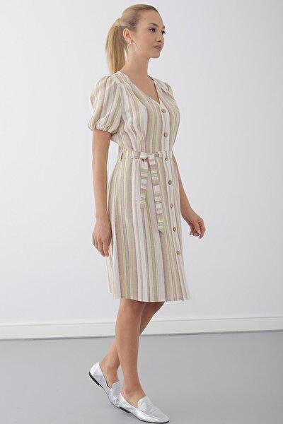 Elbise V Yaka- Ön Ve Arka Pile Detaylı, Balon Kol Önden Düğmeli