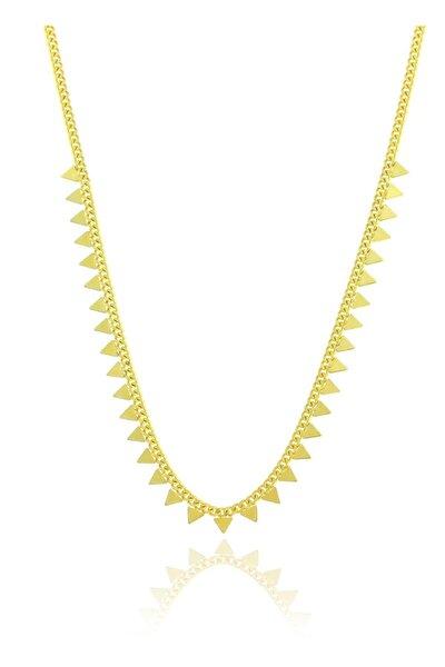 Gümüş Altın Yaldızlı Gurmet Zincirli Piramit Kolye
