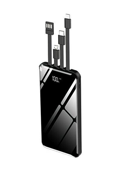 10.000 Mah Prime Dijital Göstergeli Dahili Çoklu Kablolu Powerbank,siyah