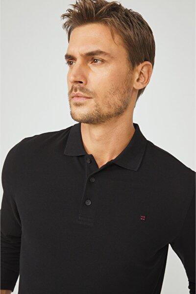 Erkek Siyah Polo Yaka Düz Sweatshirt E001003