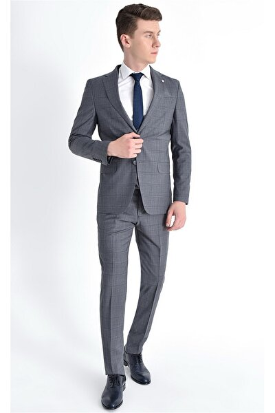 Erkek Gri  Slim Fit  Klasik Takım Elbise