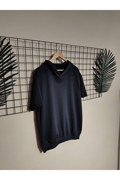 Erkek Lacivert Kol Katlamalı Kapüşonlu Oversize Sweatshirt