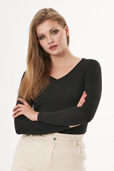 Kadın Siyah Uzun Kollu V Yaka Basic T-shirt R964