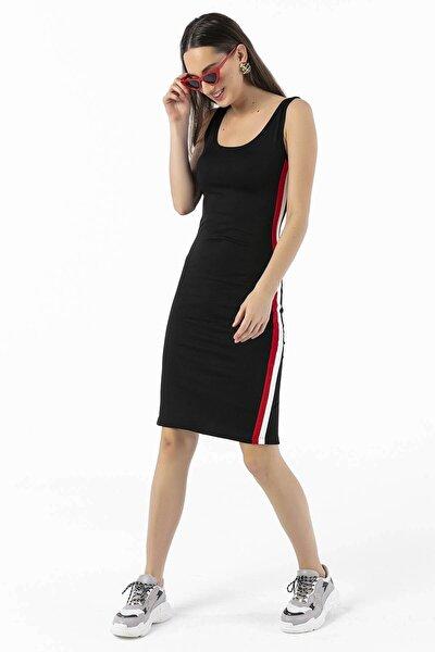 Yanları Şeritli Yırtmaçlı Likra Elbise Siyah