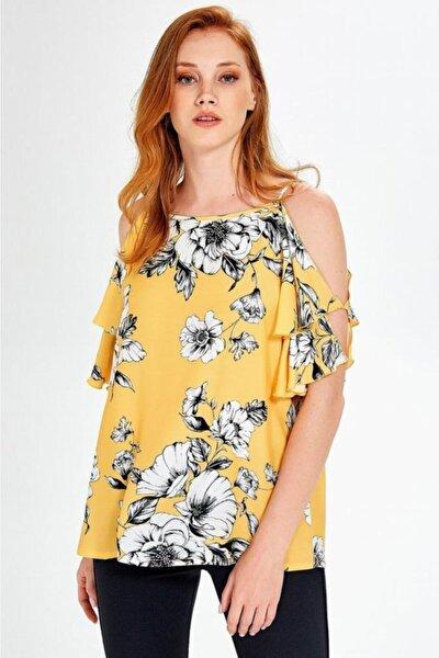 Kadın Sarı Kolları Volanlı Yırtmaçlı Desenli Bluz 019-04-3059