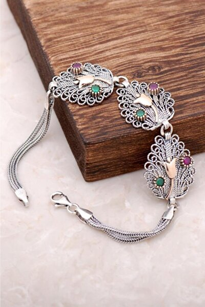 Kadın Laleli Telkari İşlemeli Gümüş Bileklik 2939