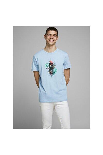 Jack Jones Virgil Tee Ss Crew Neck Erkek Mavi Tshirt 12171691-07