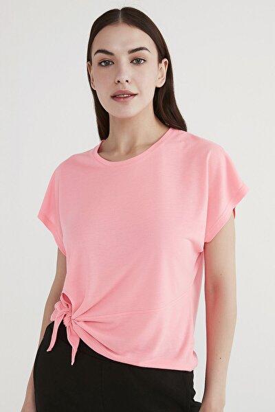 Kadın Parlak Pembe Knotted Sleeveless Tişört