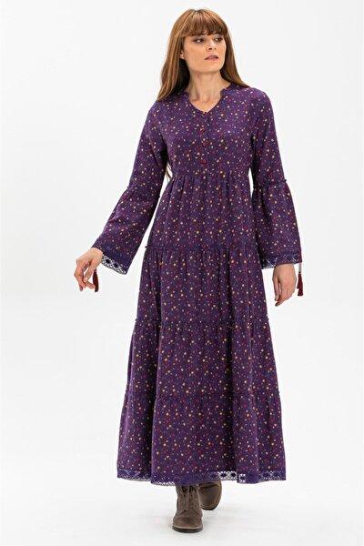 Seçil Pazen Uzun Elbise Çıtır Desen Mor