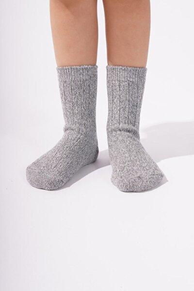 001 Cashmere Çocuk Soket Çorap - Gri Melanj