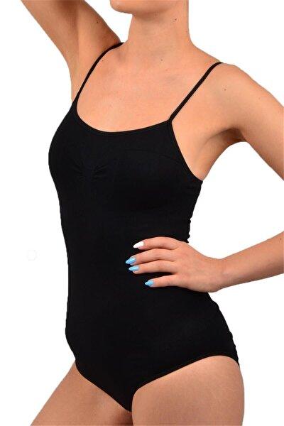 Kadın Siyah Ip Askılı Çıtçıtlı Body Siyah M