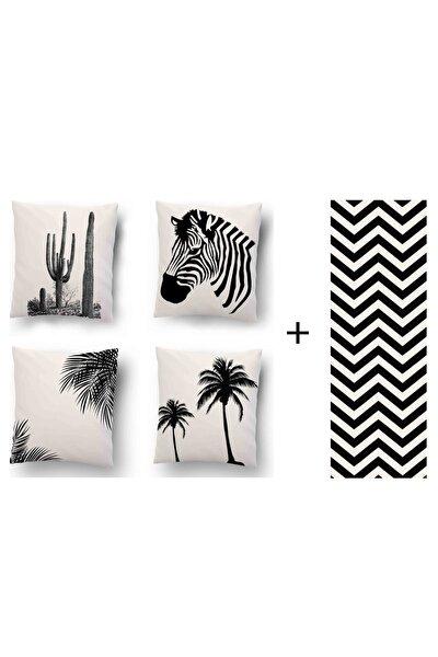 Zebra Desen 4'lü Kombin Dekoratif Yastık Kırlent Kılıfı + Runner