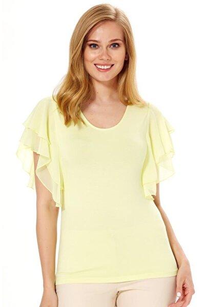 Kadın Açık Fıstık Yeşil Kolları Şifon Volanlı Bluz