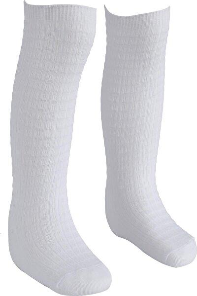 Kız Çocuk Beyaz Spor Dizaltı Çorap