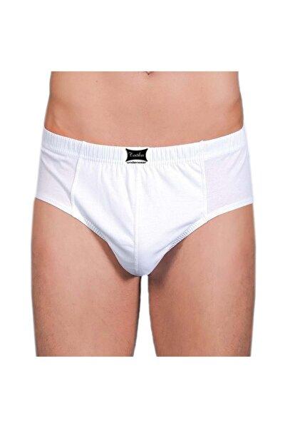 6 Adet 0109 Penye Kom %100 Pamuk Slip Erkek Külot Beyaz - - Komslip - Beyaz