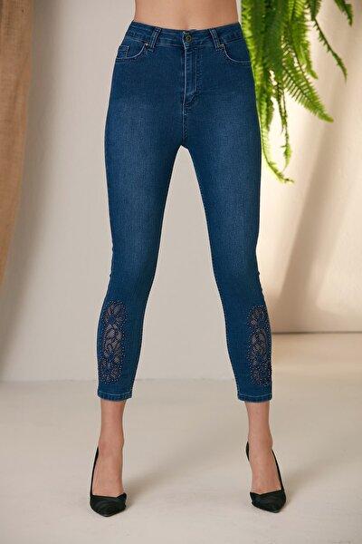 Paça File Detay Kim Mavi Pantolon