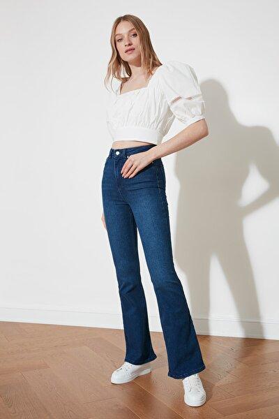 Lacivert Yüksek Bel Flare Jeans TWOSS21JE0112