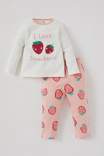 Kız Bebek Çilek Baskılı Uzun Kol Pamuklu Pijama Takımı