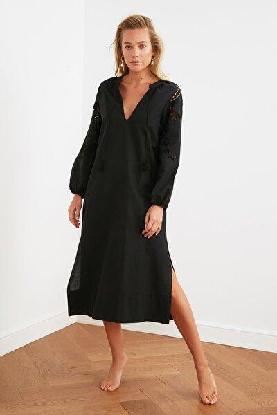 Siyah Nakış Detaylı Kimono&Kaftan TBESS21KM0004