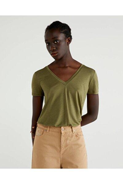 Benetton %100 Liyosel V Yaka Tshirt