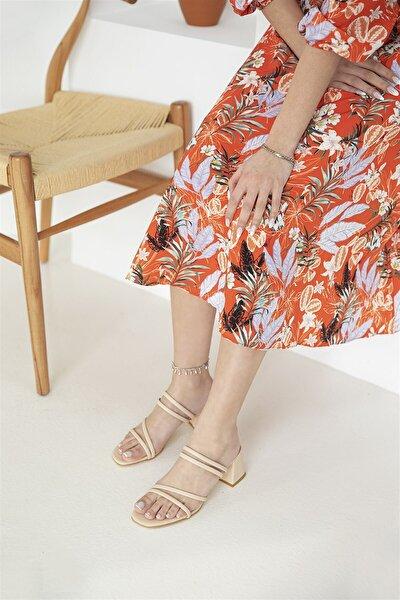 Kadın Luke Topuklu Deri Sandalet Ten
