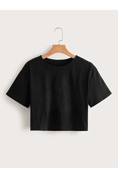 Kadın Siyah Organik Pamuklu Crop T-shirt