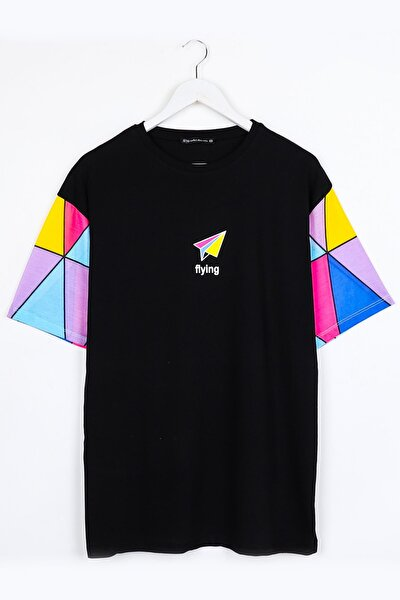 Flying Baskılı Kol Detay Siyah Oversize Unisex Tshirt