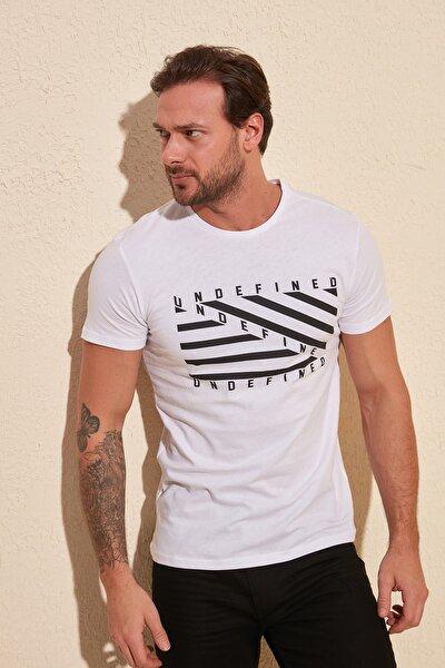 Beyaz Erkek Baskılı Slim Fit T-Shirt TMNSS20TS0079