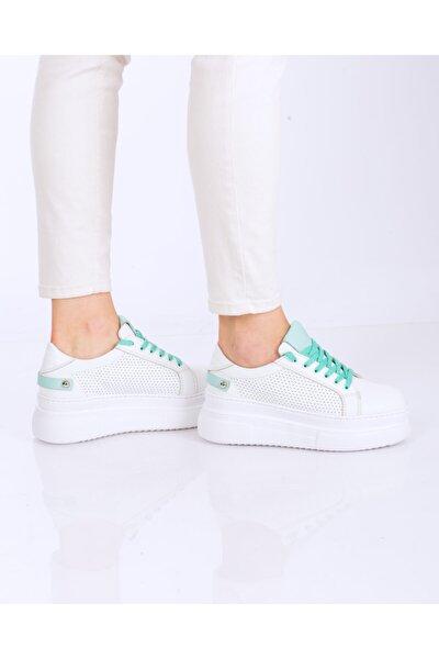 Komet Beyaz & Mint Deri Renkli Bağlı Sneakers