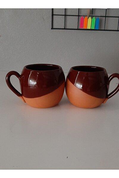 Kahverengi Sırlı Özel Tasarım Tombik 2 Li Toprak Kupa 10 cm