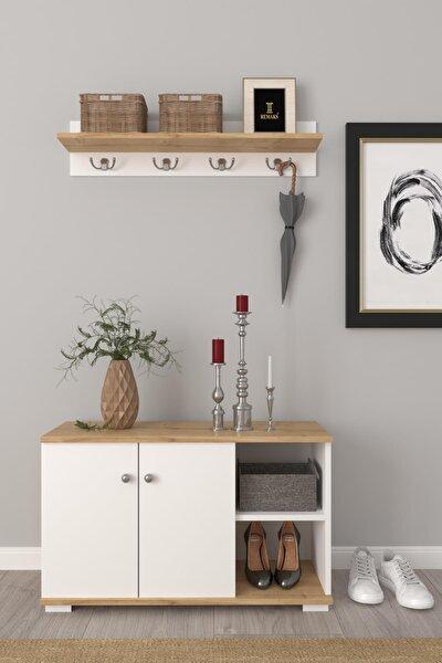 Royal Vestiyer Ayakkabılık Portmanto Ve Duvar Askısı - Meşe / Beyaz
