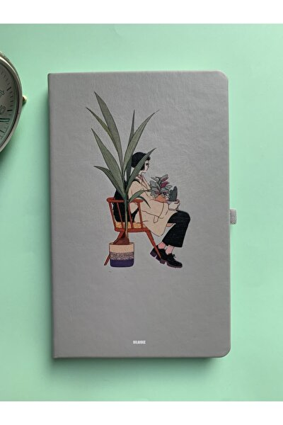 Gri Defter Çizgili Not Defteri Tarihsiz Ajanda Lastikli Defter 13x21 Cm Notebook