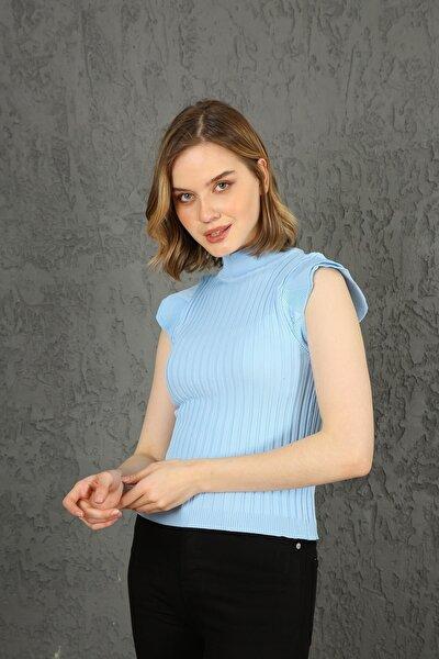 Kadın Bebe Mavi Kelebek Kol Yazlık Triko Bluz