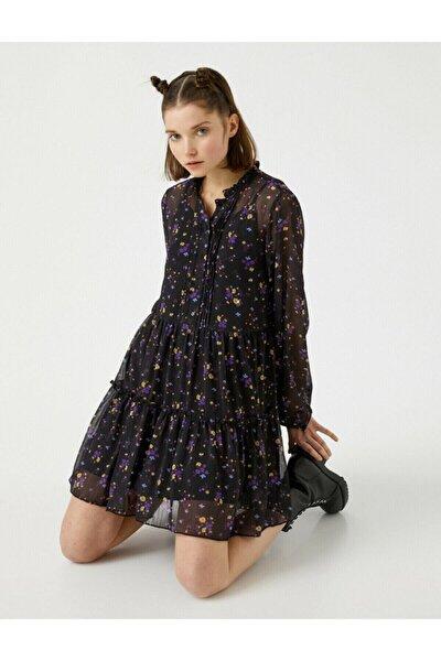 Kadın Siyah Uzun Kollu Çiçekli Tül Elbise