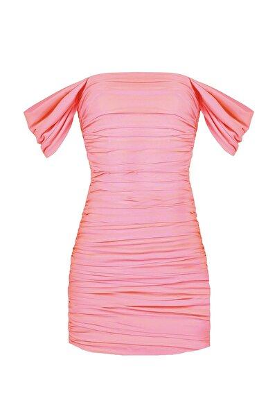 Kadın Somon Drapeli Kolları Degajeli Mini Elbise