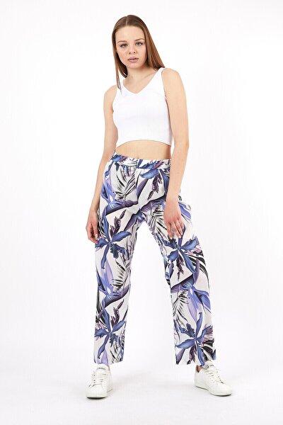 Kadın Yaprak Desenli Rahat Kesim Pantolon