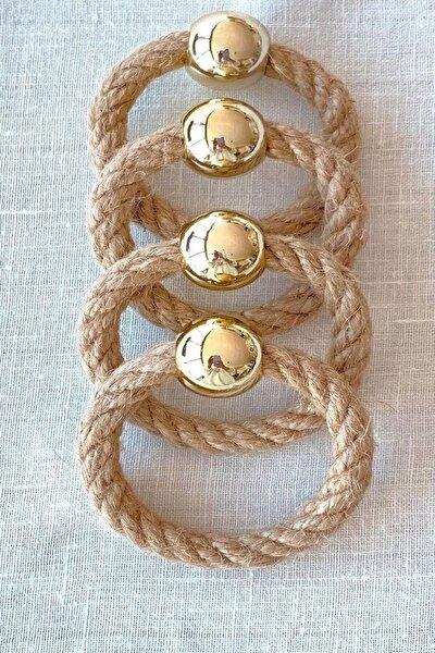 6 Adet Hasır Halka Gold Boncuklu Peçete Yüzüğü