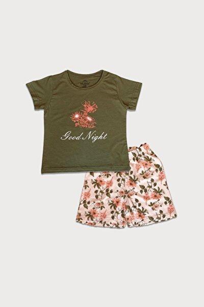 Kız Çocuk Yeşil Kısa Kollu Yazlık Pijama Baskılı Şortlu Takım 4004