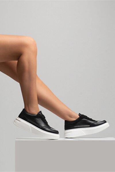 Kadın Siyah Hakiki Deri Bağcıklı Spor Sneaker Ayakkabı