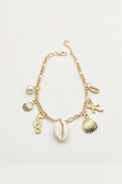 Deniz Kabuklu Figürlü Halhal Gold