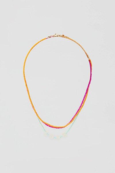 Kadın Altın Rengi 3'Lü Çok Renkli Boncuklu Kolye Seti. 05992359